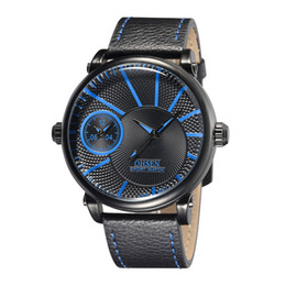 Wholesale Ohsen Military Watch - OHSEN Famous Male Business Clock Watch Quartz Watch Mens Genuine Leather Strap Sporp Wristwatch Military Waterproof Watch