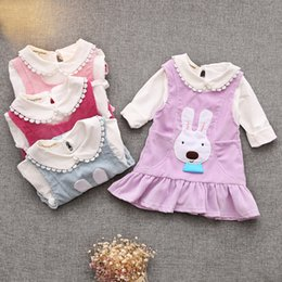 Wholesale Solid Light Blue Ball Gown - Baby Kids Clothing Girls' Dresses Spring Autumn childrens toddler princes Cotton Ball Gown BLOUSE + Dress shirts two Piece suits #TB1001