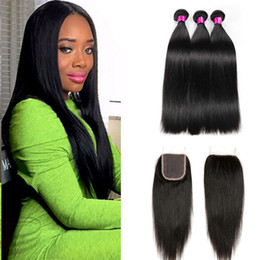 Wholesale Hair Sold Bundles - 2017 Hot Selling Straight Human Hair Bundles with Lace Closure 3pcs Brazilian Virgin Hair with Closure Wet And Wavy Human Hair Extensions