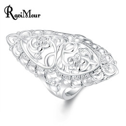 Wholesale Tibet Silver Carved Flowers - New Fashion Silver Plated Anel Flower Carved Design Finger Rings Classic Female Rings Bague Femme Bijoux 2017