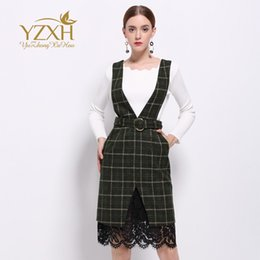 Wholesale Brand Name Suits - European station 2017 spring and summer new knitted sweater + Plaid suspenders skirt suit European and American name brand dress