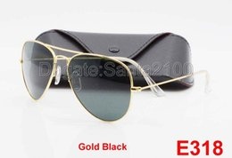 Wholesale Waterproof Uv - 20pcs High Quality Fashion Classic Pilot Sunglasses Designer Metal Sport Sun Glasses UV Protiction 58mm 62mm Black Glass With Original Box