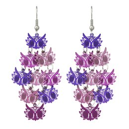 Wholesale Long Cheap Earrings - Fashion Purple Owl Earrings Long Costume Jewelry Dangle Hanging Animal Earrings Cheap Jewelry