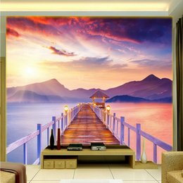 Wholesale Natural Style Landscaping - Free Shipping 3D stereo custom Sunset Red Clouds Bridge Alpine beautiful Natural landscape wallpaper bedroom living room office mural