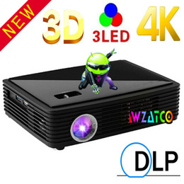Wholesale Dlp Shutter 3d - Wholesale-Wholesale Android 4.4 Smart Full HD DLP active shutter 3D OSRAM 3led Pico Movie Projector Beamer 1080p,Convert 2D to 3D