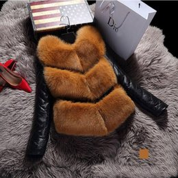Wholesale Leather Top Sleeves - 2017 New winter high fashion women's luxurious faux fur coat Patchword thick warm sheepskin leather jacket parkas Top quality for lady