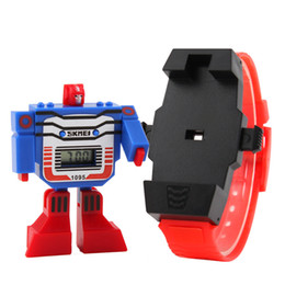 Wholesale Watches Led Kids - Kids LED Digital Children Watch Cartoon Sports Watches Relogio Robot Transformation Toys Boys Wristwatches Drop Shipping