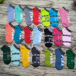 Wholesale Pink Badminton - 2017 Ankle VS Pink socks 26 colors Women Socks Football Cheerleaders Stockings PINK Short Sports Stocking Ankle LOVE Pink skateboard sock