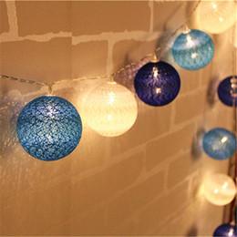Wholesale Lanterns Cotton Ball String - Wholesale- Blue Tone Cotton Ball String Light 10 20 30-Led Handmade Lanterns light string Home Decor Party Wedding Dancing String Lights