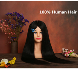 "Wholesale Salon Mannequin Head Human Hair - 100% real black Human Hair Mannequin Head doll 24"" Black Great Quality Natural Hair Hairdressing Dolls Head For Beauty Salon"