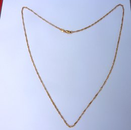 Wholesale Thin Gold Jewelry - 24K Real Yellow Solid Gold GF Thin Carded Cable Cable Link Italian Chain Fine Jewelry Necklace Accessory pendeloque