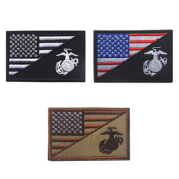 Wholesale marine badge - 30PCS Tactical USA Marine Corps Patch ARMY Badge Morale Hook&Loop Embroidery Patch Decorative Badge appliques Wholesale