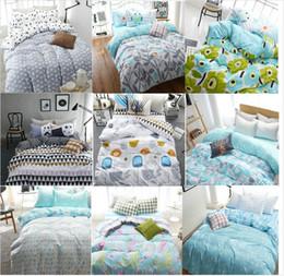 Wholesale Cotton Duvet Covers Single - Wholesale-cotton fashion style cartoon plaid twin queen size single 4pcs bedding bed sheet set bedclothes duvet cover set bedding set