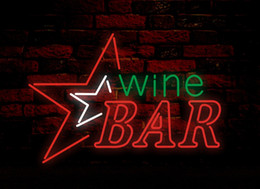 Wholesale Red Wine Stores - WINE BAR Neon Sign Real Glass Tube Bar Pub Store Business Advertising Home Decoration Art Gift Display Metal Frame Size 24''X20''