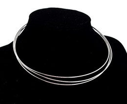 Wholesale Wholesale Silver Plated Jewelry Wire - Free Shipping 10pcs lot Silver Plated Chokers Necklace Cord Wire For DIY Craft Jewelry Gift 18inch W22
