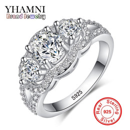 Wholesale Fine Jewelry Sets - YHAMNI Fine Jewelry Solid 925 Sterling Silver Wedding Rings Set Sona CZ Diamond Engagement Rings Brand Jewelry for Bride R173
