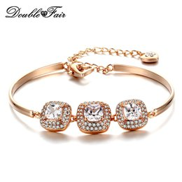 Wholesale Wholesale Champagne Diamonds - Simple Fashion 18K Champagne Gold Plated Charms Bracelets & Bangles Fashion Jewelry For Women Gifts CZ Diamond & Austrian Crystal DFH031