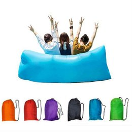 Wholesale Double Bedding Bag - Outdoor Inflatable Air Sleeping Bag Hangout Lounger Air Boat Air Lazy Sofa Camping Sleeping Bed Fast Inflatable 30pcs(no pocket)