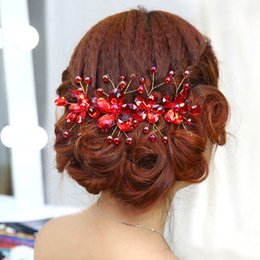 Wholesale crystal headbands for flower girls - Korean flower handmade crystal bridal headbands jewelry for women and girls red rhinestone wedding hiar accessories
