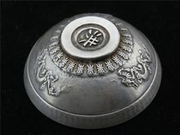 Dragão velho on-line-Collectible Decorado Velho Handwork Tibet Silver Esculpido Par Dragon Bowl