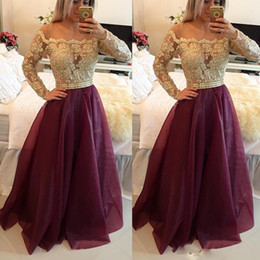 Wholesale Empire Sweet 16 Dress - Long Sleeves Burgundy 2017 Prom Dresses Bateau Neck Off The Shoulder Appliques Lace Organza Floor Length Evening Gowns Sweet 16 Dresses