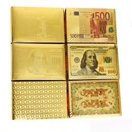 Wholesale Big Playing Cards - Poker Card Gold foil plated Playing Cards Plastic Poker Waterproof High Quality US dollar Euro Style General style DHL Free