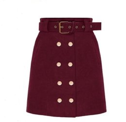Wholesale Double Breasted High Waist Shorts - Autumn  winter new double-breasted suede high waist short skirt fashion women clothing wild casual package hip skirt A word skirts woman