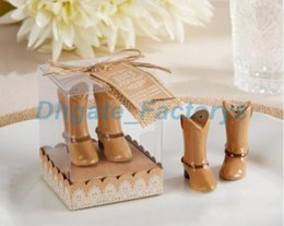 Wholesale Salt Pepper Shakers Wedding Favors - 200pcs=100Boxes LOT Just Hitched Ceramic Cowboy Boot Salt and Pepper Shaker for Wedding Souvenirs Party Favors Free shipping