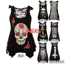 Wholesale Skull Print Shirts Women - Women's Fashion Rock Punk Style Skull Print Loose Lace Patchwork Bandages Casual Sleeveless Tops S-5XL T-Shirts