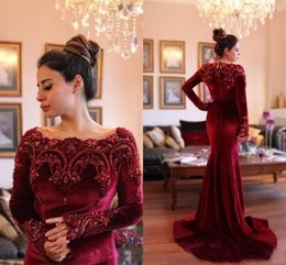 Wholesale Velvet Evening Gowns Crystals - 2017 New Modest Burgundy Velvet Evening Dresses Long Sleeves Beaded Appliqued Mermaid Prom Dresses Vintage Formal Occasion Wear Pageant Gown