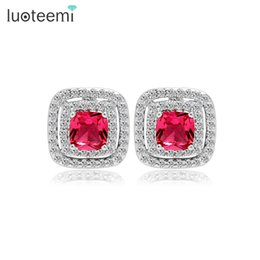Wholesale Stone Stud Set - LUOTEEMI Four Color Options Tiny CZ Micro Setting Square Main Stone Stud Earrings for Women AAA Cubic Zircon Jewelry Wholesale