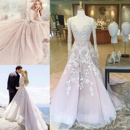 Wholesale Blush Sequins Dress - Long Sleeve Rococo Beach Wedding Dresses Beaded Blush Pink Hayley Paige 2017 Vintage Long Sleeve Lace Appliqued Bridal Gowns