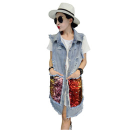 Wholesale Korean Long Vest Coat - 2017 Autumn Korean Fashion Sequins Hole Ripped Vintage Long Denim Jacket Vest Women Coat New Clothing