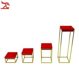 Wholesale Riser Display - High End Stainless Steel Jewelry Display Holder Red Velvet Bangle Riser Ring Organizer Holder Window Jewelry Display Stands Rack