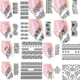 Wholesale Nail Art Stickers Black - Wholesale-20pcs Mixed Fashion Sex Black Lace Vine Charm Nail Art Stickers Water Transfer Decals Wraps Nail Art Tattoos DIY Printing