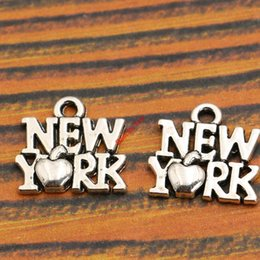 Wholesale Accessories Wholesale New York - Wholesale- 10pcs Antique Silver Plated New York Charm Pendant fit Bracelet Necklace Jewelry DIY Making Accessories 14x14mm