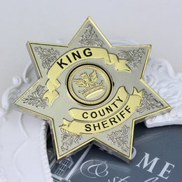 Wholesale Steel Round Lock - Hot Movie The Walking Dead Uniform Star King County Sheriff Letter Badge Gaes Cosplay Pin Shirt Brooch Jewelry Freeshipping