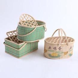 Wholesale Bamboo Picnic - bamboo egg packaging basket storage box Fruit Rattan Storage Box For Cosmetics food picnic basket Handiwork Fashion kitchen accessories