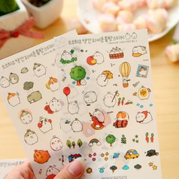 Wholesale Planner Stickers - Wholesale- Korean stationary kawaii stickers 6 sheets Rabbit PVC Transparent planner Stickers stickers for school sticky notes papelaria