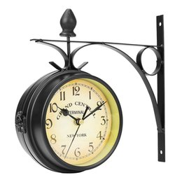 Wholesale round glass cover - 2017 Charminer Double Sided Round Wall Mount Station Clock Garden Vintage Retro Home Decor Metal Frame +Glass Dial Cover
