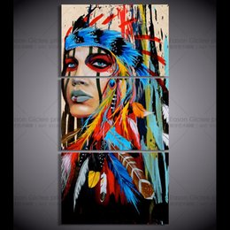 Wholesale Modern Abstracts - HD Canvas Printed 3 Pieces Modern Abstract Wall art American Indian Feathered Painting Wall Pictures For Living Room Home Decoration