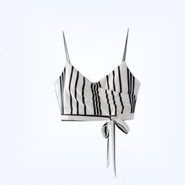 Wholesale New Sexy Tubes - Contrast Color Summer New Women's Clothing Fashion Stripe Bandage Short Crop Camisole Strapless Tube Top with Falsies Female Tanks