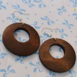 Wholesale Vintage Geometric Earrings - New Vintage Exaggerated Geometric Wooden Women Temperament Jewelry Round Orinigal Design Handmade Drop Earrings E1025