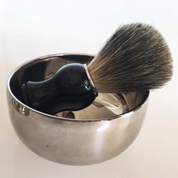 Wholesale Mug Hair - Shaving Brush Finest Badger Hair Wet Shaving Brush +Stainless Steel Mug Bowl Kit