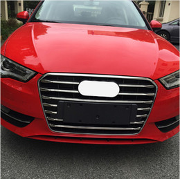 Wholesale grille grill - Stainless Steel Strips for Audi A3 Sedan Hatchback 2014-16 Front Grill Grille Decorative Cover Trim Car Styling Decals