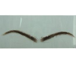 Wholesale new fake - New free shipping 1pair browncolor fake eyebrow false eyebrow made of 100% natural hair hand made