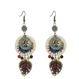 Wholesale Vintage Metal Chandelier Flowers - Wholesale vintage leaf earrings long dangle ear jewelry ethnic zinc alloy coin metal hook drop earring women pendientes largos