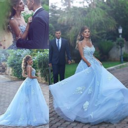 Wholesale Dress Flower Pearl Collar - 2018 Amazing Arabic Prom Dresses Sheer Neckline Hand-Made Flowers Backless Light Sky Blue A Line Dresses Evening Wear Custom Made