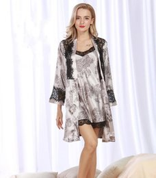 Wholesale Home Sexy Woman Robe - Promotion! Sexy 2 piece Robe Sets for Women Silky smooth Robe Satin Sleepwear Home Suit Lace trim Comfortable Bathrobe Robe Set WP325