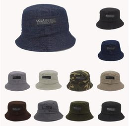 Wholesale Beret Yellow - 2016 Fashion Cottonblend Denim Unisex Cap Bucket Hat Summer Outdoor Fishing Caps for Men and Women Flat Sun Berets HT51041+20